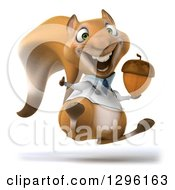 Clipart Of A 3d Doctor Or Veterinarian Squirrel Hopping Giving A Thumb Up And Holding An Acorn Royalty Free Illustration