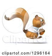 Clipart Of A 3d Doctor Or Veterinarian Squirrel Hopping To The Right With An Acorn Royalty Free Illustration