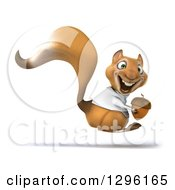 Clipart Of A 3d Happy Doctor Or Veterinarian Squirrel Hopping To The Right With An Acorn Royalty Free Illustration