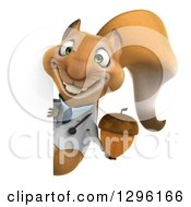 Clipart Of A 3d Doctor Or Veterinarian Squirrel Holding An Acorn Around A Sign Royalty Free Illustration