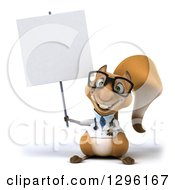 Clipart Of A 3d Bespectacled Doctor Or Veterinarian Squirrel Holding Up A Blank Sign Royalty Free Illustration