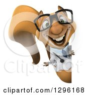 Clipart Of A 3d Bespectacled Doctor Or Veterinarian Squirrel Presenting Around A Sign Royalty Free Illustration