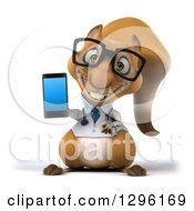 Clipart Of A 3d Bespectacled Doctor Or Veterinarian Squirrel Holding A Smart Cell Phone Royalty Free Illustration