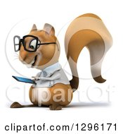 Clipart Of A 3d Bespectacled Doctor Or Veterinarian Squirrel Facing Slightly Left And Using A Smart Cell Phone Royalty Free Illustration