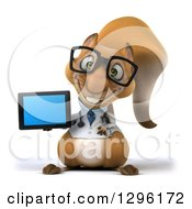 Clipart Of A 3d Bespectacled Doctor Or Veterinarian Squirrel Holding A Tablet Or Smart Phone Royalty Free Illustration