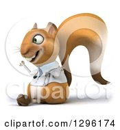 Clipart Of A 3d Doctor Or Veterinarian Squirrel Facing Left And Meditating Royalty Free Illustration