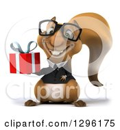 Clipart Of A 3d Bespectacled Business Squirrel Holding A Gift Royalty Free Illustration