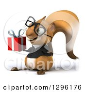 Clipart Of A 3d Bespectacled Business Squirrel Facing Slightly Left And Holding A Gift Royalty Free Illustration