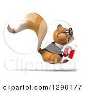 Clipart Of A 3d Bespectacled Business Squirrel Hopping To The Right And Holding A Gift Royalty Free Illustration