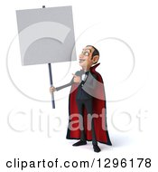 Clipart Of A 3d Dracula Vampire Holding Up And Pointing To A Blank Sign Royalty Free Illustration