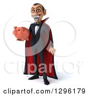 Clipart Of A 3d Dracula Vampire Grinning And Holding A Piggy Bank Royalty Free Illustration