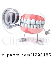 3d Mouth Teeth Mascot Shrugging And Holding An Email Arobase At Symbol