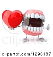 3d Mouth Teeth Mascot Holding A Thumb Up And A Red Love Heart