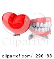 3d Mouth Teeth Mascot Holding Up A Red Love Heart