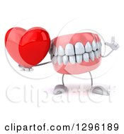 3d Mouth Teeth Mascot Holding Up A Finger And A Red Love Heart