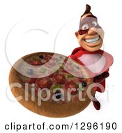 Clipart Of A 3d Caucasian Red Super Hero Man Holding Up A Pizza Royalty Free Illustration