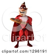 Clipart Of A 3d Caucasian Red Super Hero Man Holding A Pizza Royalty Free Illustration