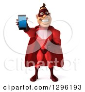 Clipart Of A 3d Caucasian Red Super Hero Man Holding Out A Smart Cell Phone Royalty Free Illustration by Julos