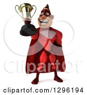 Clipart Of A 3d Caucasian Red Super Hero Man Holding Up A Trophy Royalty Free Illustration by Julos