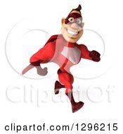 Clipart Of A 3d Caucasian Red Super Hero Man Smiling And Sprinting Royalty Free Illustration by Julos