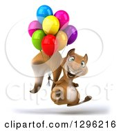 Clipart Of A 3d Excited Squirrel Facing Right Hopping And Holding Party Balloons Royalty Free Illustration