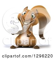 Clipart Of A 3d Squirrel Holding A Chrome USD Currency Symbol Royalty Free Illustration