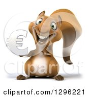 Clipart Of A 3d Squirrel Holding And Pointing To A Chrome Euro Currency Symgol Royalty Free Illustration