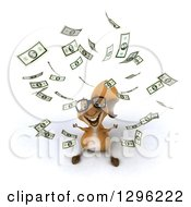 Clipart Of A 3d Bespectacled Squirrel Looking Up In Raining Cash Money Royalty Free Illustration