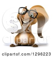 Clipart Of A 3d Bespectacled Squirrel Holding And Pointing To A Dollar Currency Symbol Royalty Free Illustration