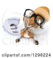 Clipart Of A 3d Bespectacled Squirrel Looking Up And Holding A Euro Currency Symbol Royalty Free Illustration