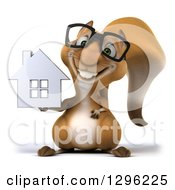 Clipart Of A 3d Bespectacled Squirrel Holding A Chrome House Royalty Free Illustration