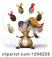 Clipart Of A 3d Squirrel Wearing Sunglasses And Juggling Chocolate Easter Egg Royalty Free Illustration