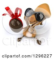 Clipart Of A 3d Squirrel Wearing Sunglasses And Holding Up A Chocolate Easter Egg Royalty Free Illustration