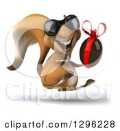 Clipart Of A 3d Squirrel Wearing Sunglasses Hopping And Holding A Chocolate Easter Egg Royalty Free Illustration