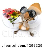 Clipart Of A 3d Squirrel Wearing Sunglasses And Holding Up A Bouquet Of Flowers Royalty Free Illustration