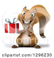 Clipart Of A 3d Squirrel Holding A Gift Royalty Free Illustration