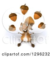 Clipart Of A 3d Squirrel Looking Up And Juggling Acorns Royalty Free Illustration