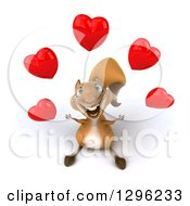 Clipart Of A 3d Squirrel Looking Up And Juggling Love Hearts Royalty Free Illustration