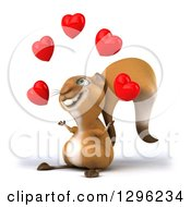 Clipart Of A 3d Squirrel Facing Left And Juggling Love Hearts Royalty Free Illustration