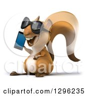 Clipart Of A 3d Squirrel Wearing Sunglasses Facing Left And Talking On A Smart Cell Phone Royalty Free Illustration