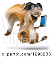 Clipart Of A 3d Squirrel Wearing Sunglasses Facing Slightly Right Hopping And Holding A Smart Cell Phone Royalty Free Illustration