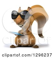 Clipart Of A 3d Squirrel Wearing Sunglasses And Using A Touch Screen Smart Cell Phone Royalty Free Illustration