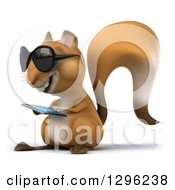 Clipart Of A 3d Squirrel Wearing Sunglasses Facing Left And Using A Touch Screen Smart Cell Phone Royalty Free Illustration