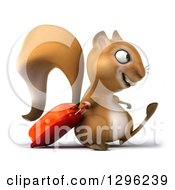 Clipart Of A 3d Traveling Squirrel Facing Right And Walking With A Rolling Suitcase Royalty Free Illustration