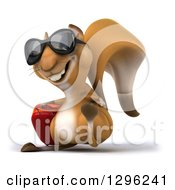 Clipart Of A 3d Squirrel Wearing Sunglasses And Walking Slightly Left With Rolling Luggage Royalty Free Illustration