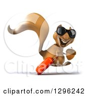 Clipart Of A 3d Squirrel Wearing Sunglasses Facing Right Hopping And Holding An Acorn With Rolling Luggage Royalty Free Illustration