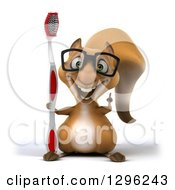 Clipart Of A 3d Bespectacled Squirrel Holding Up A Finger And A Giant Toothbrush Royalty Free Illustration