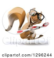 Clipart Of A 3d Bespectacled Squirrel Facing Right Hopping And Holding A Giant Toothbrush Royalty Free Illustration