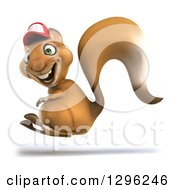 Clipart Of A 3d Squirrel Wering A Baseball Cap And Hopping To The Left Royalty Free Illustration