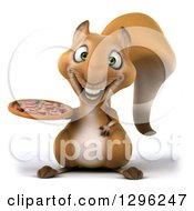 Clipart Of A 3d Squirrel Holding A Pizza Royalty Free Illustration